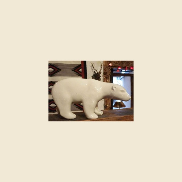 White crackle glazed bear