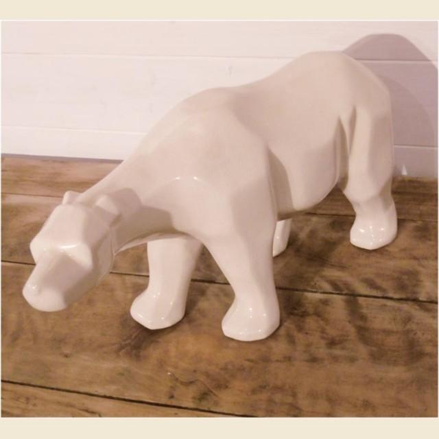 Ours en porcelaine style cubiste