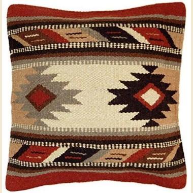 Coussin navajo en laine écrue