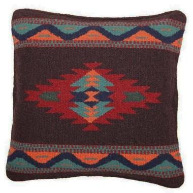 Coussin navajo en laine Rouge et Brun