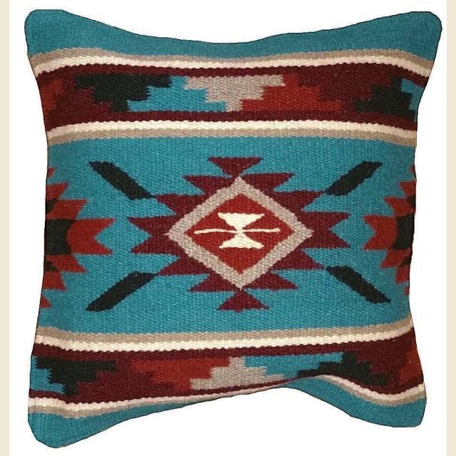 Coussin en laine navajo turquoise