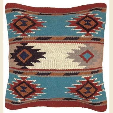 Coussin navajo en laine Turquoise