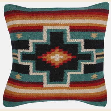 Coussin navajo en laine emeraude
