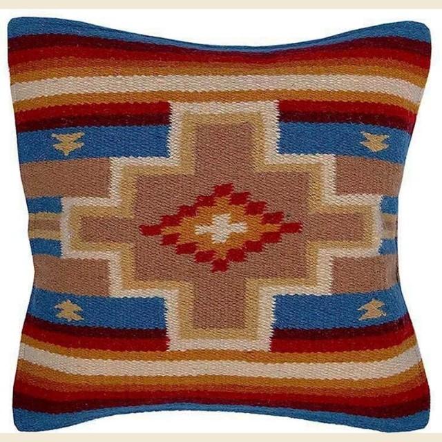 Coussin navajo bleu croix beige