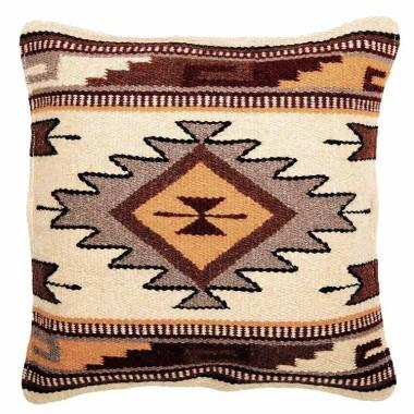 Coussin navajo en laine écru et brun