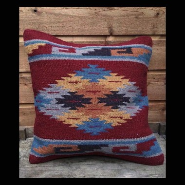 Southwest  red  & blue wool pillow