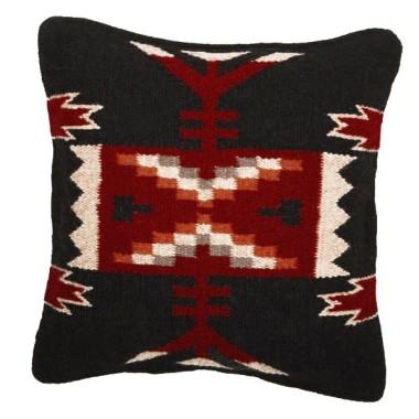 Coussin navajo en laine Noir et Rouge