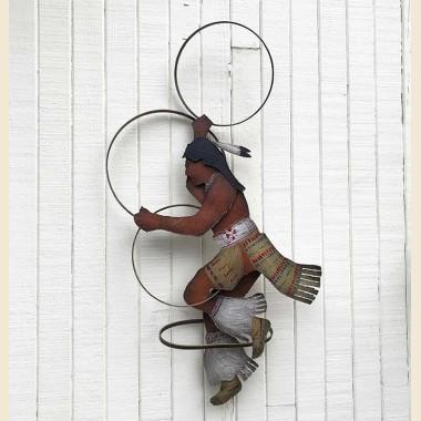 Sculpture en métal Danseur aux cerceaux