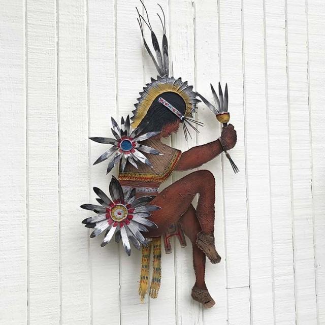 Sculpture Indian Dancer en métal