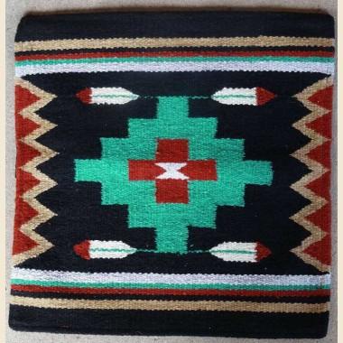 Coussin Pueblo croix verte